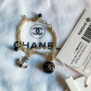 Authentic CHANEL Resin Bead Charms Bracelet Black